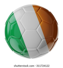 Football soccer ball with flag of Ireland republic. 3D render