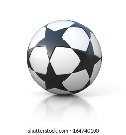 football - soccer ball with star pattern isolated on white