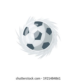 Football or soccer balls with motion trails in black and white for sporting emblems, logo design. Collection of soccer balls with curved color motion trails  illustrations