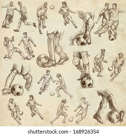 FOOTBALL - Soccer. Collection of an hand drawn illustrations on old paper texture.
