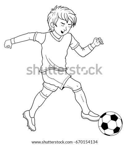 Football Soccer Cute Footballer Coloring Book Stockillustration ...