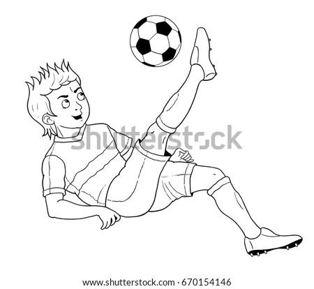 Football Soccer Cute Footballer Coloring Book Stock Illustration ...