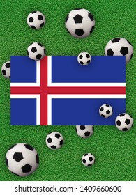 Football, soccer. Iceland, flag with football balls on a grass background. Championship in Europe. 3D illustration.