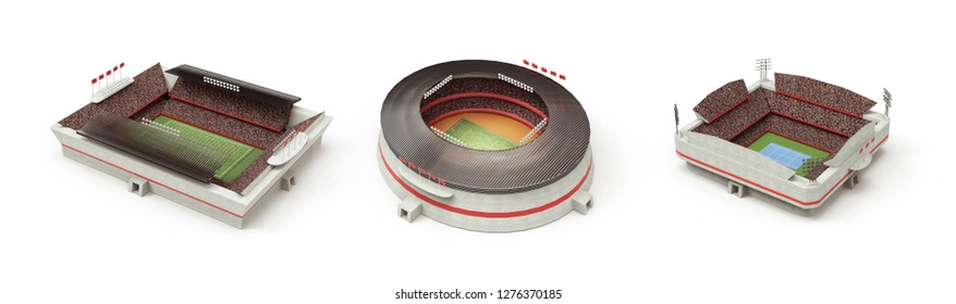 Football, soccer, tennis stadium 3d rendering (composition and stadium is the imaginary)