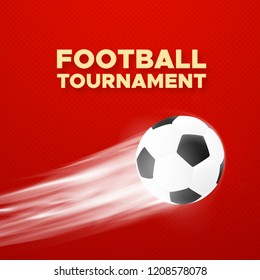 Football sport poster design. Red color background with flying soccer ball.