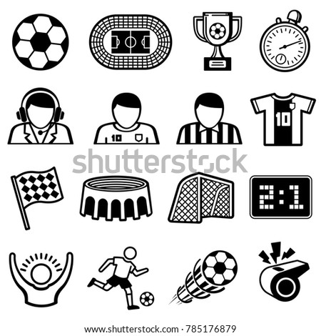 Football Sports Icons Soccer Team Symbols Stock Illustration
