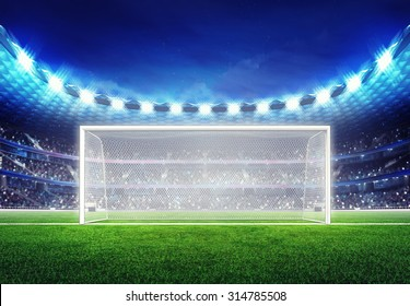 football stadium with empty goal on the grass field sport illustration