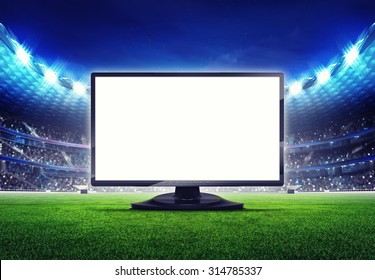 football stadium with empty tv screen frame on the grass field sport illustration