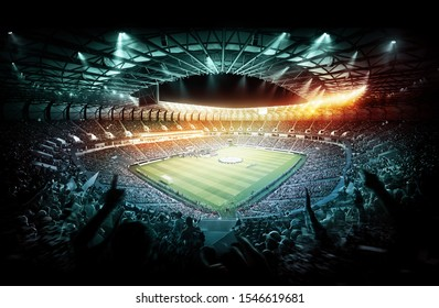 Football stadium full of fans with players on the pitch. 3d illustration.