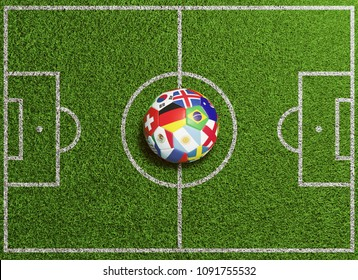 Football stadium seen from above with international soccer ball featuring many national flags ready for kickoff (3D Rendering)