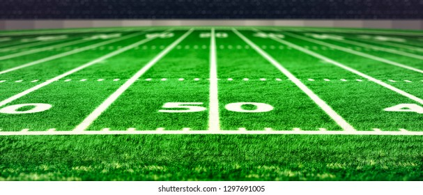 Football stadium with white lines marking the pitch. Perspective of football field. Perspective elements.Ragby football field with white lines marking the pitch. 3d illustration.