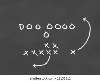 Football team play drawn on a chalkboard