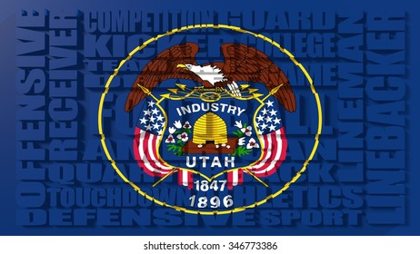 Football word build in relative words cloud. USA national sport illustration. Utah state flag