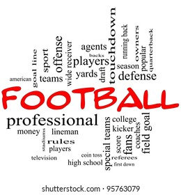 Football Word Cloud Concept in red caps with great terms such as yards, touchdown, season, quarterback, fans, games, draft and more.