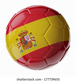 Football/soccer ball with flag of Spain 3D render