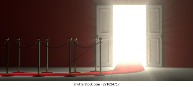 A footpath leads you to the door of opportunities and success. The path is delimited by an illuminated red carpet, red rope barrier and golden supports. The door is open and it lets in a lot of light