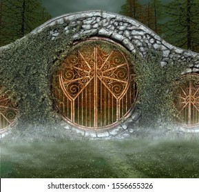 Footpath taking to an old gateway in the middle of the misty woods – 3D illustration
