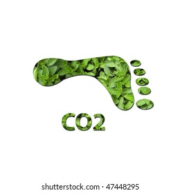 Footprint made up of green leaves to represent environmental issues or carbon footprint.