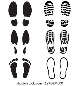 Footprints icon set. Shoes imprints, male, female, barefoot, silhouette. Abstract concept. Raster illustration on white background.