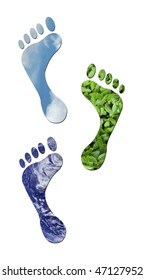 Footprints made up of green leaves, water and sky to represent environmet issues or carbon footprint. Water photo from Nasa.