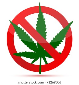 Forbidden cannabis red and green illustration design isolated over a white background