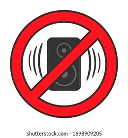 Forbidden loud music. Sound restriction icon. Illustration.