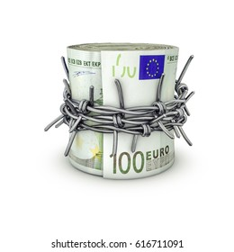 Forbidden money euros / 3D illustration of rolled up hundred euro notes tied with barbed wire