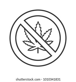 Forbidden sign with marijuana leaf linear icon. Thin line illustration. No cannabis. Stop contour symbol. Raster isolated outline drawing