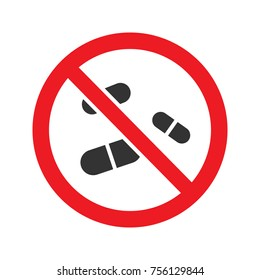 Forbidden sign with pills glyph icon. Stop silhouette symbol. No drugs prohibition. Negative space. Raster isolated illustration
