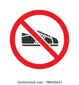 Forbidden sign with sneaker glyph icon. Stop silhouette symbol. No shoes prohibition. Negative space. Raster isolated illustration