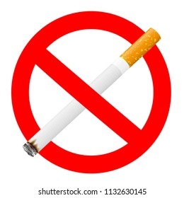 Forbidden signal with a cigarette, no smoking sign 3d illustration