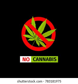 forbidding sign on the black background. No Cannabis
