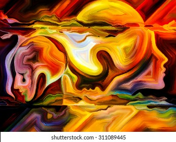 Forces of Nature series. Background design of colorful paint and abstract shapes on the subject of modern art, abstract art, expressionism and spirituality