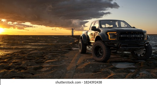 Ford F-150 Raptor – Most Extreme Production Truck On The Planet,3d illustration.