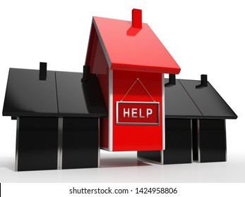 Foreclosure Help Icon Means Assistance To Stop A Property Foreclosing. House, Apartment Or Building Advice - 3d Illustration