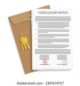 Foreclosure notice, envelope and keys. Raster illustration.