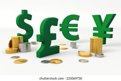 Foreign currencies signs: American Dollar, British Pound, Euro, Japanese Yen