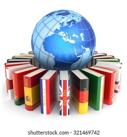 Foreign languages learn and translate education concept, books in colors of national flags of world countries around Earth globe isolated on white background (Elements of this image furnished by NASA)