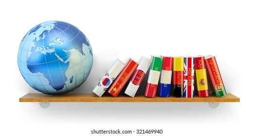 Foreign languages learn and translate education concept, books with flags of world countries and Earth globe on bookshelf isolated on white background (Elements of this image furnished by NASA)