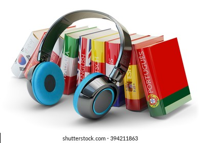 Foreign languages learning and translate, communication and education concept, audio books with covers in colors of national flags of world countries and modern headphones isolated on white