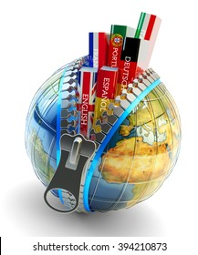 Foreign languages learning and translation concept, online translator icon, books in colors of national flags of world countries inside Earth globe with zipper isolated on white (Elements  by NASA)