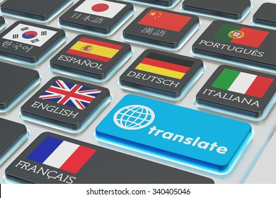 Foreign languages translation concept, online translator, macro view of computer keyboard with national flags of world countries on keys and blue translate button