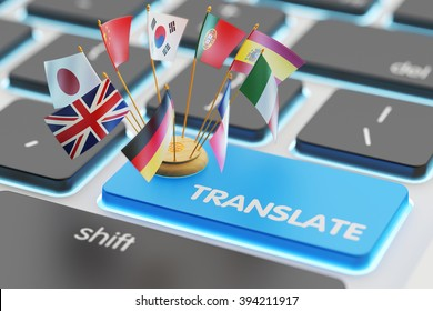Foreign languages translation concept, online translator, macro view of computer keyboard with national flags of world countries on blue translate button