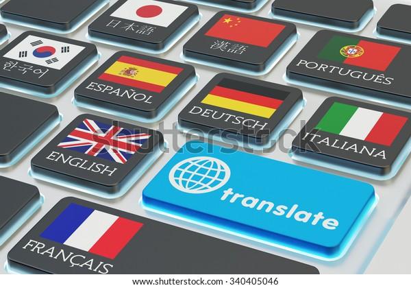 Concepto de traducción de idiomas extranjeros, traductor en línea, vista macro del teclado de computadora con banderas nacionales de los países del mundo en teclas y botón azul de traducción