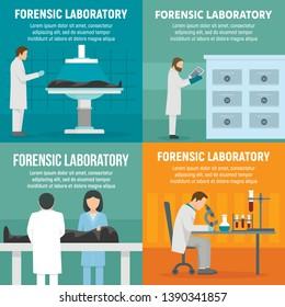Forensic laboratory banner set. Flat illustration of forensic laboratory banner set for web design