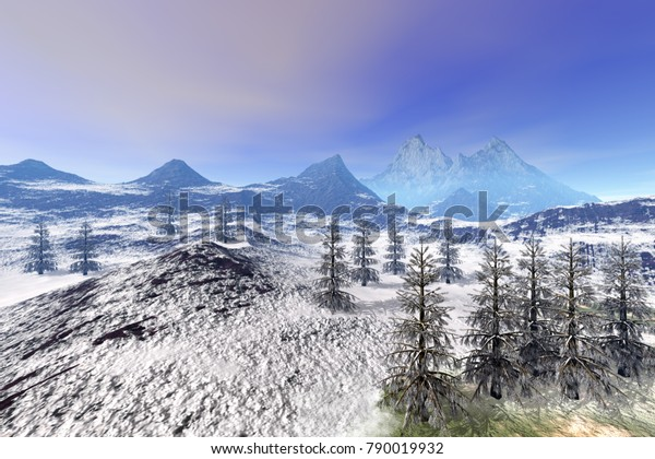 Forest, 3D rendering, an alpine landscape, beautiful snow on the ground, coniferous trees and a blue sky.