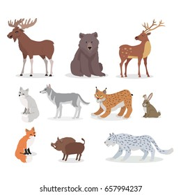 Forest animals set. Moose, boar, lynx, bobcat, bear, deer, wolf, hare, rabbit, fox wild boar jaguar isolated on white background Wildlife characters Forester cartoon creatures illustration