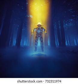 Forest astronaut concept / 3D illustration of astronaut materialising in the middle of dark forest