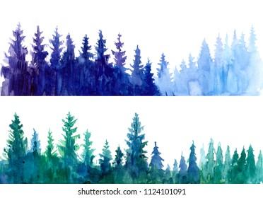 Forest background. Watercolor illustration