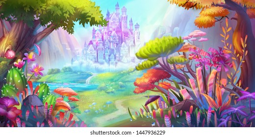 The Forest and Castle. Mountain and River. Fiction Backdrop. Concept Art. Realistic Illustration. Video Game Digital CG Artwork. Nature Scenery.